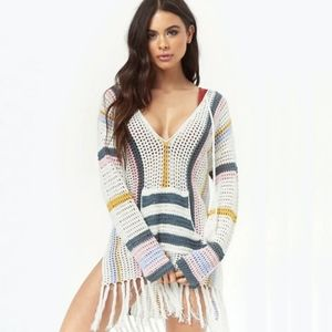 Flash SALE! Striped Knit Poncho Cover Up Dress